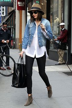 Miranda Kerr in 3.1 Phillip Lim Top with Cline Tote - Best Miranda Kerr Street Style - Harper's BAZAAR