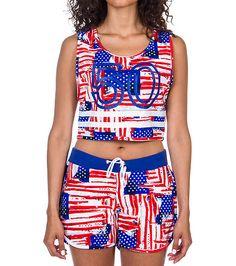 ROYAL+BLUE+Crop+top+tank+Scoop+neck+Americana+print+Pair+with+shorts:+J3SH004V3