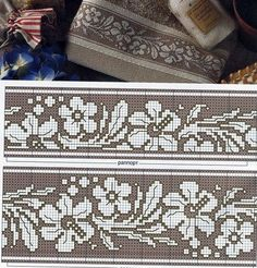 Look for other x-stitch patterns for runners and tablecloths Cross Stitch Borders, Crochet Borders, Cross Stitch Samplers, Cross Stitch Flowers, Cross Stitch Charts, Cross Stitch Designs, Cross Stitching, Cross Stitch Embroidery, Embroidery Patterns