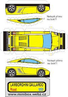 One sheet-Cut-Fold and Glue-Lamborghini Paper Model Car, Paper Car, Paper Models, Diy Paper, Lamborghini Gallardo, Harley Davidson V Rod, Benz Sprinter, Cars Series, Mini Craft