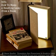 DIY BOOK LIGHT.  How To Make a Reading Lamp from a Hardcover Book by Steve Hoefer (Inventor, CA) & Grathio Labs. It turns off when closed & gives off a variable amount of light depending on how far you open it, up to about a 40W light equivalent. A nice warm, soft light that's right at home on the bedside table.  Instructions at link .... Clever & attractive :-)  [Do not remove; Caption required by copyright law. Link directly to the Grathio Lab's website.]