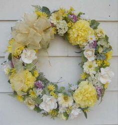 Spring Door or Wall Wreath Silk Flower Floral Arrangement Wreath   eBay