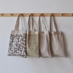 tote bags by bookhou at home Tote Tutorial, Modern Crafts, Bag Patterns To Sew, Fabric Bags, Diy Embroidery, Shopper, Cute Bags, Cotton Bag, Bag Sale