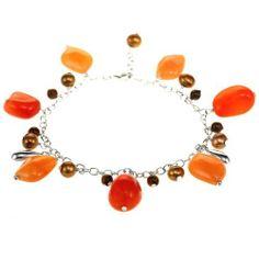 EXP Freshwater Gold Pearl Charm Bracelet w/ Orange Carnelian, Tiger Eye & Sterling Silver Teardrops EXP. $53.99
