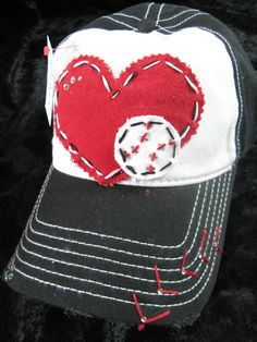 Baseball Love Patchwork and Crystal Baseball Cap by BlingirlSpirit, $26.95