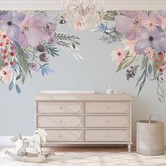 WILD SUMMER GARDEN Corners on this Wild Flowers Mural on your Wall! I have mane designs with these same flowers, please see my other listings. If you want to see colors and materials before you purchase the full size decal, get a sample here: Flower Mural, Flower Wall Decals, Girl Wall Decals, Wall Decals For Bedroom, Wall Decals For Kids, Girls Bedroom Mural, Flower Frame, Nursery Wall Murals, Flat Interior