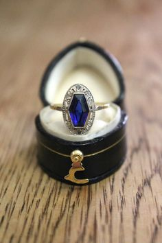 French Art Deco Antique Sapphire Diamond by TrothHeirloomJewels