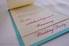 DIY Multi Layer Wedding Programs :  wedding blue ceremony multi layered programs pink programs purple teal tiered programs Acknowledgements