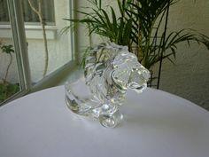 Art Vannes Crystal Lion Cigar Tray