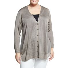 Nic+zoe Plus Chiffon-Back Lightweight Cardigan ($69) ❤ liked on Polyvore featuring plus size women's fashion, plus size clothing, plus size tops, plus size cardigans, brown, long sleeve v neck cardigan, v-neck cardigan, chiffon cardigan, brown cardi and brown long sleeve top