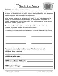 Worksheets Judicial Branch Worksheet branches and worksheets on pinterest history worksheet american symbols of america us government judicial branch 1