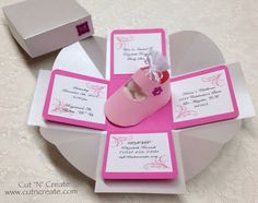 Exploding Box Baby Shower Invitation Pink Paper Baby Shoe It's A Girl on Etsy, $6.99 CAD