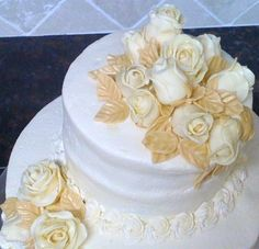 Ivory Stacked Cake, Fondant Roses By bake-aholic on CakeCentral.com