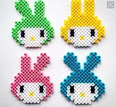 Easter bunnies hama beads by plumkagen Melty Bead Patterns, Hama Beads Patterns, Beading Patterns, Hama Bead Boards, Perler Bead Art, Pearler Beads, Fuse Beads, Easter Activities, Craft Activities For Kids