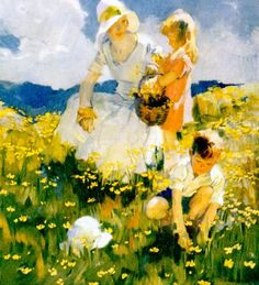 Family In A Field Of Buttercups