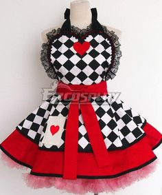 Everun Cute Fashion Aprons Apron for Girls Women Women's Girl Waitress Cooking Restaurant Kitchen Gardening Home Cooking Chef Fashion Patterns Red Apron Aprons Dress Red Apron, Apron Dress, White Apron, Disney Aprons, Queen Of Hearts Costume, Cool Aprons, Apron Designs, Sewing Aprons, Aprons Vintage