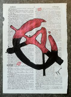 Hand drawn Anarchy art on dictionary page.