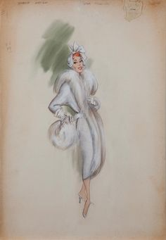 Fashion Illustration Patterns Helen Rose costume sketch of Janis Paige for Silk Stockings Vintage Hollywood, Hollywood Glamour, Rose Costume, Fashion Sketches, Fashion Drawings, Fashion Illustrations, Illustration Sketches, Helen Rose, Rose Sketch