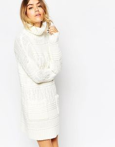 ASOS | ASOS Chunky Cable Jumper Dress with Funnel Neck and Pockets at ASOS
