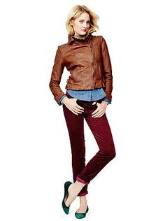 Gap quilted leather moto and 1969 leopard print real straight cords - saved by Chic n Cheap Living - little luxury list Burgundy Pants, Me Time, Fall Winter Outfits, Looking For Women, Jeans, Beautiful Outfits, What To Wear, Leather Jacket, Moto Jacket