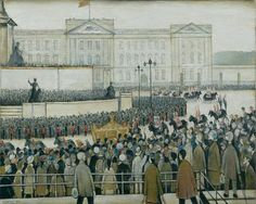 Laurence Stephen Lowry (1887-1976) Title The Procession passing the Queen Victoria Memorial, Coronation Date 1953