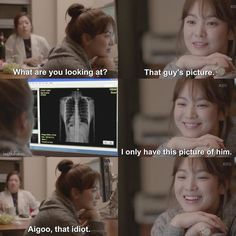 K Drama- Descendants of the Sun - wonderful romantic comedy/drama. She's looking at his x-ray because it's the only picture she has of him. Its the only k-drama which was dubbed and aired on a national tv channel in our country