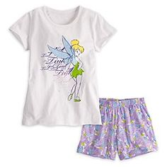 Disney Tinker Bell Sleepwear Set for Women | Disney StoreTinker Bell Sleepwear Set for Women - This soft and simple cotton sleep set direct from Never Land pairs Tink's glittering vintage style tee with comfy jersey knit shorts in a pixie-perfect pattern.