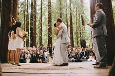 Annie and Matt's wedding in a chapel of redwood trees in the forest of California. Their friends and family spent the weekend camping out, playing games, having adventures, and celebrating their love summer camp style..
