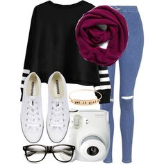 A fashion look from October 2015 featuring striped jumper, denim skinny jeans and bangle jewelry. Browse and shop related looks.