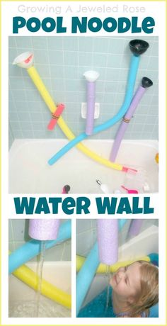 Easy and fun bath toys - Pool noodle water wall