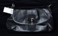 NWT Authentic Coach Soho Leather Flap Bag in Black