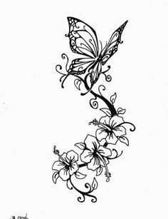 Schmetterling+und+Blumen+interessante+Tattoovorlagen+für+Unterarm+