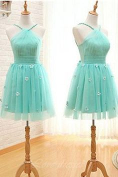 A-line Short Handmade Teal Tulle Open Back Homecoming Dresses With Appliques