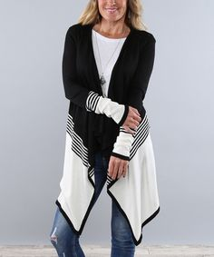 Look what I found on #zulily! Black Two-Tone Stripe Open Cardigan - Women #zulilyfinds