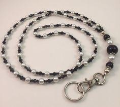 Pearl Lanyard - ID Holder - Badge Holder - Beaded Lanyard - Black and White (Item 141) Wire Jewelry, Jewelry Crafts, Jewelry Art, Lanyard Id Holder, Badge Holders, Beaded Lanyards, Pearl White, Black White, Czech Glass Beads