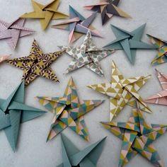15 stickers étoiles en origami pour décoration murale chambre bébé fille enfant - rose, or, turquoise,noir