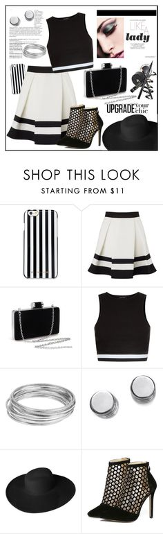"""Ariana Grande For Lipsy Stripe Mini Skater Skirt"" by biange ❤ liked on Polyvore featuring MICHAEL Michael Kors, Lipsy, New Look, Balmain, Worthington, Botkier and Dorfman Pacific"