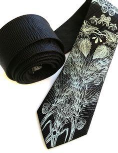 Hops, wheat and barley screen printed silkscreened necktie from Cyberoptix TieLab Botanical Prints, Pocket Square, Herringbone, Screen Printing, Dog Cat, Boys, Neckties, Accessories, Toddlers