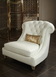 AICO Mia Bella Damario White Gold Leather Tufted Chair & a Half downstairs office White Leather Furniture, White Leather Chair, Best Leather Sofa, Gold Leather, Sofa Lounge, Sofa Set, Tufted Chair, Upholstered Chairs, Swivel Chair