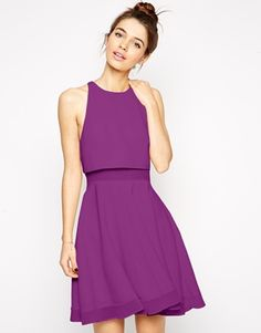 Asos Sheer And Solid Skater Dress Event Dressespurple Dresscasual Wedding