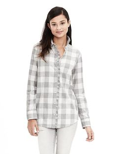 Soft-Wash Buffalo Check Flannel Shirt in Cocoon | Banana Republic (size Sm)