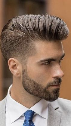 Rock and roll age came and the pompadour style was flared again and is still dazzling. Check out these Macho Pompadour Hairstyles for Men to try this year. Mens Hairstyles Pompadour, Mens Hairstyles With Beard, Cool Hairstyles For Men, Pompadour Style, Pompadour Men, Hipster Haircuts For Men, Beard Haircut, Short Haircut, Gents Hair Style