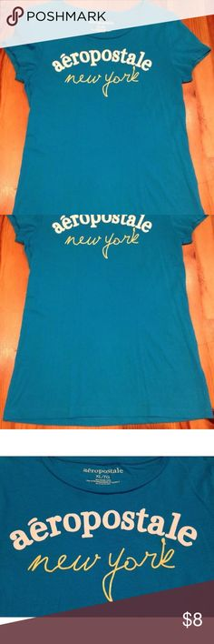 "AEROPOSTALE TEAL 100% COTTON TSHIRT Women's L/XL New without tags! Super pretty 100% cotton teal blue t-shirt top by AEROPOSTALE! Size women's juniors XL.  Chest: 17"" across lying flat pit to pit  Length: 26"" Aeropostale Tops Tees - Short Sleeve"
