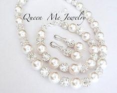 Ensemble de bijoux de mariées perle, perle Swarovski ensemble, Chunky perle ensemble, 3 pces perle, perle mariage ensemble de bijoux, grandes perles et cristaux, LOLITA