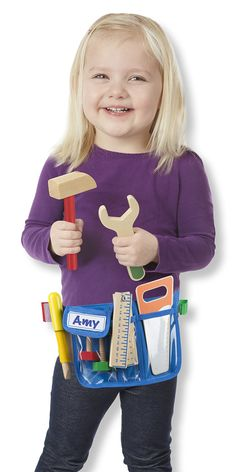 Deluxe Wooden Tool Belt Set | Construction Site Toys | Melissa and Doug