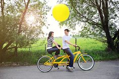 A Yellow Tandem Bicycle Engagement Shoot