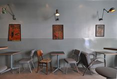 Designed by Corvin Cristian, the Atelier Mecanic (Mechanical Workshop) is a bar made of 1950 to 1970 industrial relics, salvaged leftovers, graphics and or Vintage Industrial, Vintage Bar, Vintage Chairs, Vintage Furniture, Retro Chairs, Opening A Cafe, Mechanical Workshop, Lunch Room, Boys Room Decor