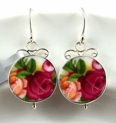 Elegant Royal Albert Old Country Roses sterling silver hand cut china earrings