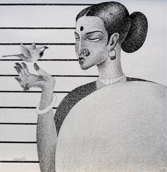 Nuril Bhosale's Pen & Ink paintings series titled 'Thirst'