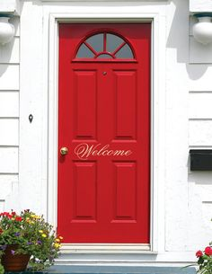 Welcome Door Decal - Welcome Vinyl Lettering for Door - Front Door Decals